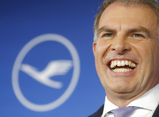 German airline Lufthansa CEO Spohr reacts during  the company's annual news conference in Frankfurt