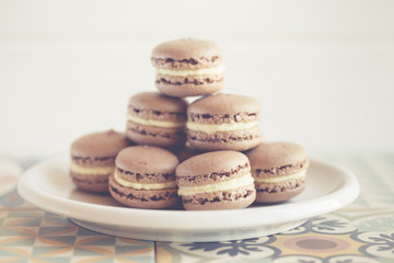 Plate of chocolate macaroons