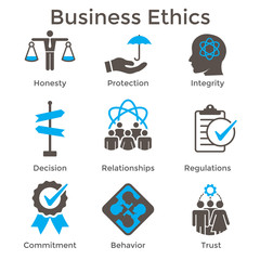 Business Ethics Solid Icon Set with Honesty, Integrity, Commitment, and Decision