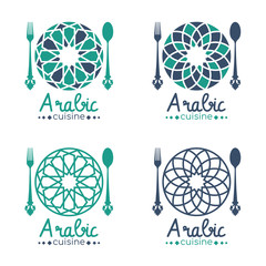arabic cuisine logo with abstract arabesque circle dish and spoon fork sign vector set design