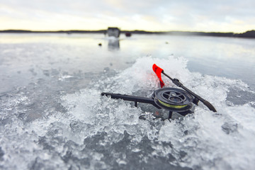 Ice fishing. Winter fishing
