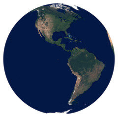 Earth from space. Satellite image of planet Earth. Photo of globe. Isolated physical map of Western hemisphere (North America and South America). Elements of this image furnished by NASA.