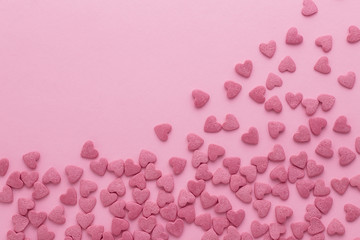 Scattered sugar pink hearts