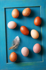 eggs on a blue frame