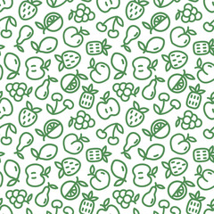 Seamless pattern with green fruits on white background. Eco design with thin line fruit icons for supermarket brochure. Vector