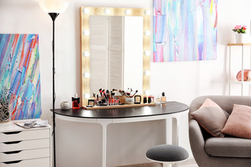 Interior of modern makeup room