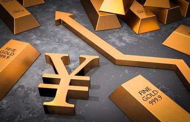 Golden yen symbol and golden arrow up