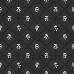 Skulls with crossbones on spiderweb background. Halloween inspired pattern.