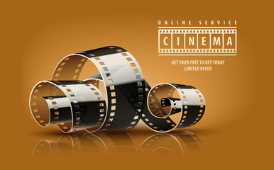 Movie film reel. Cinematography concept for online cinema.