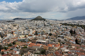 Mount Lycabettus in the city of Athens, Greece
