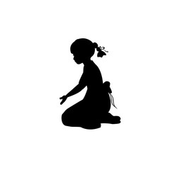 Silhouette girl sitting lap with hand down