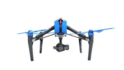 White drone quadrocopter with photo camera flying in the blue sky Concept of aero film 3d render on white no shadow
