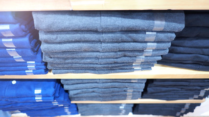 Clothes or shirt in store close-up angle view.