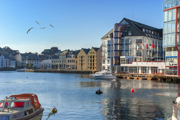 Waterfront of Alesund - famous northern tourist Norwegian city, in the last century, here the marine and coastal fisheries have been demonstrated a great development in Scandinavia