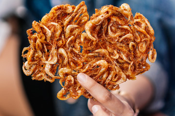 Crispy spicy deep fried Thai chili shrimp snack