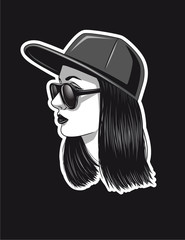 Vector hand drawn design for tattoo. Black and white girl's face in profile. Modern style of woman's face for print