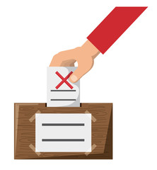 Hand putting a voting paper with a cross in the ballot box  over white background, colorful design. vector illustration