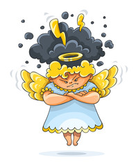 Cartoon angry furious guardian angel funny character with wings