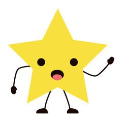 kawaii surprised star icon over white background, colorful design. vector illustration