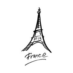 Hand drawn ink brush logo symbol of France. An idea for design.