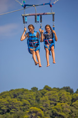 Two girls on the parasailing