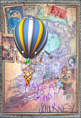 Old map with hot air balloon and tarot figure