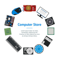 Cartoon PC Components for Computer Store Banner Card Circle . Vector