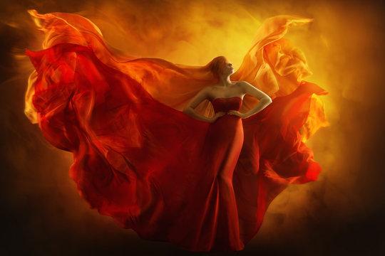 Fashion Model Art Fantasy Fire Dress, Blindfolded Woman Dreams in Red Flying Gown, Girl Beauty Portrait, Fabric Fluttering like Flame Wings