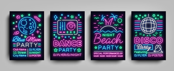 Nightclub party collection of posters. Night party, Neon sign, neon sign flyer, disco ball, musical night poster template, bright neon advertising, concert, disco, festival. Vector Illustrations