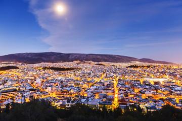 Athens, Greece. Twilight scene.