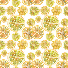 Watercolor realistic citrus pattern