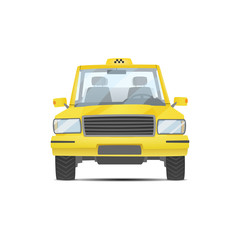 Vector isolated yellow taxi on white background