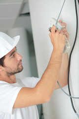 Electrician on building site
