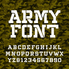 Army stencil alphabet font. Type letters and numbers on a green camo seamless  background. Vector military typeface for your design.