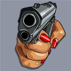womens cartoon hand with red manicure holding gun