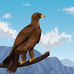 Eagle in branch over landscape vector illustration graphic design