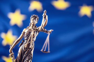 Lady Justice and European Union flag. Symbol of law and justice with EU Flag