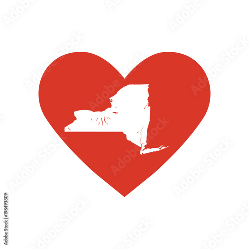 State Of New York Vector Map Silhouette In A Heart Shape Outline