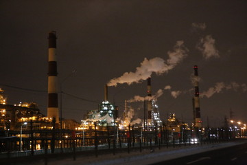 refinery, factory, oil, industry