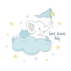 Little elephant on the cloud. Cartoon vector illustration for kids