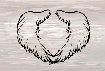 Wings. Vector illustration on wooden background. Black and white