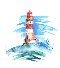 Watercolor illustration of lighthouse. Red and white colors, sea landscape. Art illustration, greeting card. Beautiful tower.