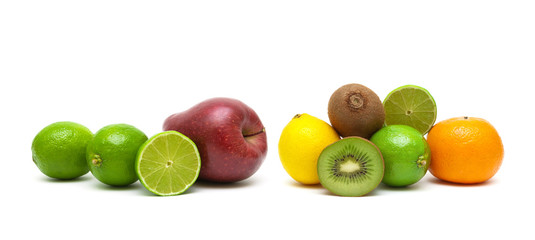 lime and other fruits isolated on white background