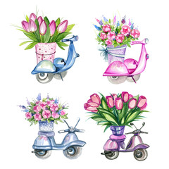 Scooters with Flowers