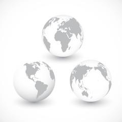 Set Of Grey World Globes ,Illustration