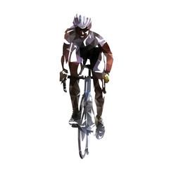 Road cycling. Bicycle racing polygonal vector illustration