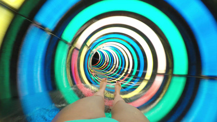 Personal Perspective of a Girl Speeding Down at Water Slide