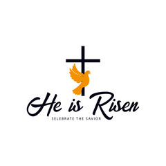 He is Risen. Church easter logo, emblem, labels or stickers with dove and cross. Vector graphics
