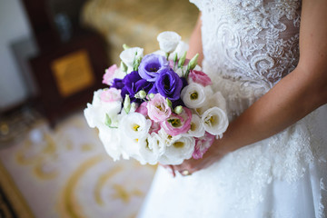 Bride with Bouquet at Room