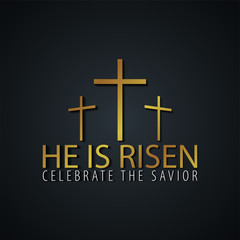 He is Risen. Church easter logo, emblem, labels or stickers with cross. Vector graphics